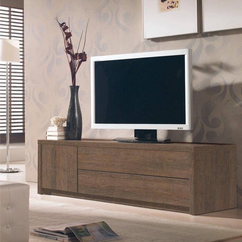 Meuble TV 1 porte, 2 tiroirs chêne foncé - INDIANA