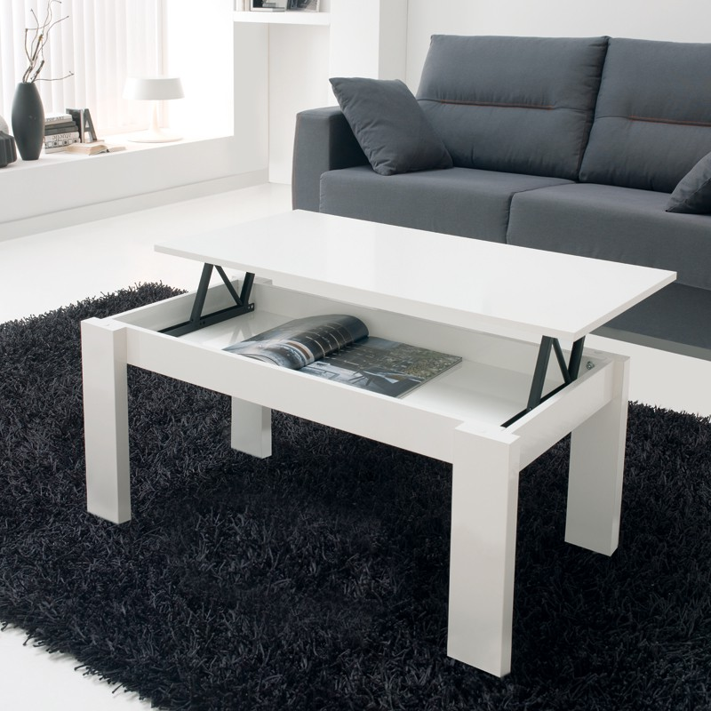 Table basse blanche relevable moderne n 1 mysia univers - Table basse blanche plateau relevable ...