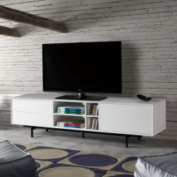Meuble TV Bois blanc contemporain - Univers Salon : Tousmesmeubles