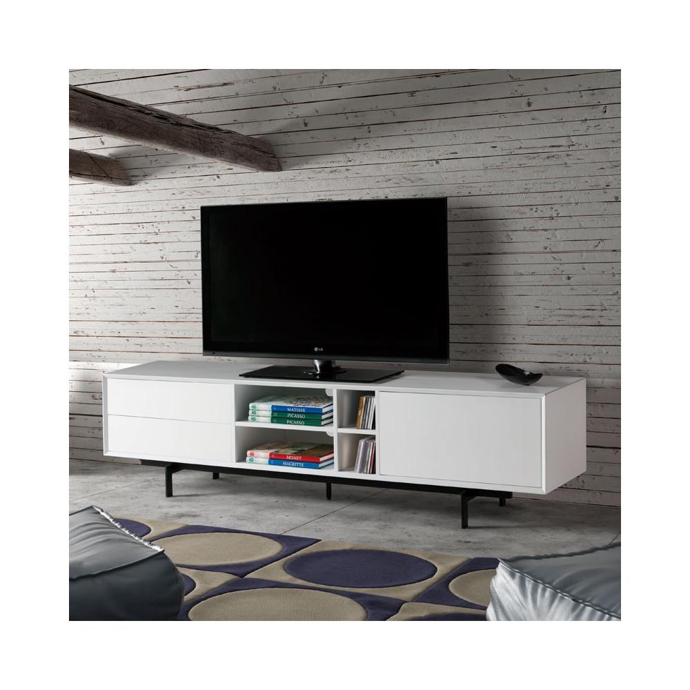 Meuble TV Bois blanc contemporain - Univers Salon : Tousmesmeubles