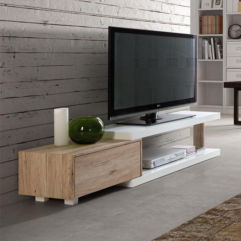 Meuble TV bois clair et blanc - Univers Salon : Tousmesmeubles