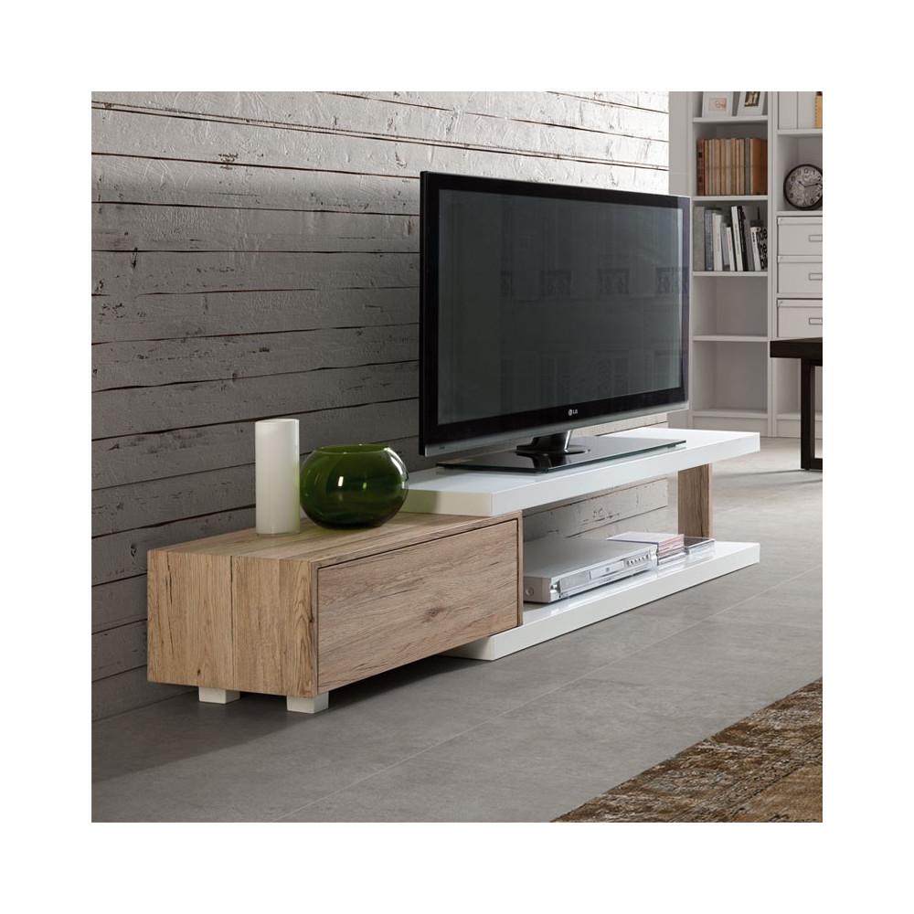 Meuble TV design blanc et chêne ancien 1 tiroir MARCO - Univers Salon