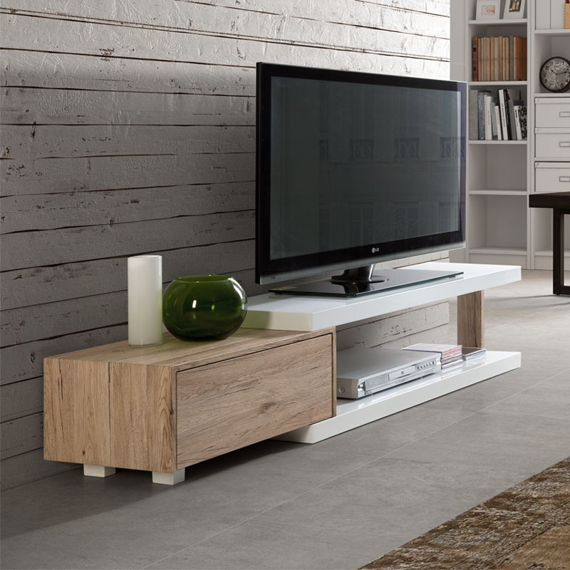 meuble tv design blanc et ch ne ancien 1 tiroir marco univers salon. Black Bedroom Furniture Sets. Home Design Ideas