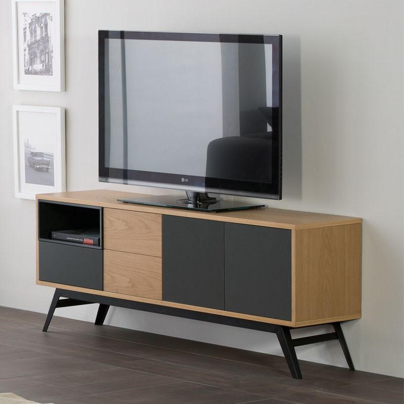 Meuble TV scandinave bois clair et gris - Univers Salon : Tousmesmeubles