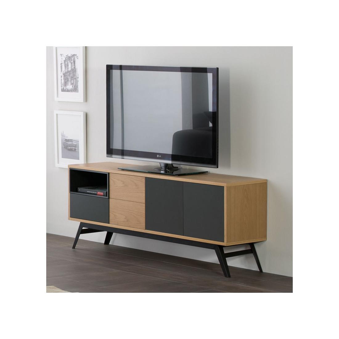 Meuble tv 3 portes 1 tiroir scandinave alesia univers du for Meuble tiroir salon