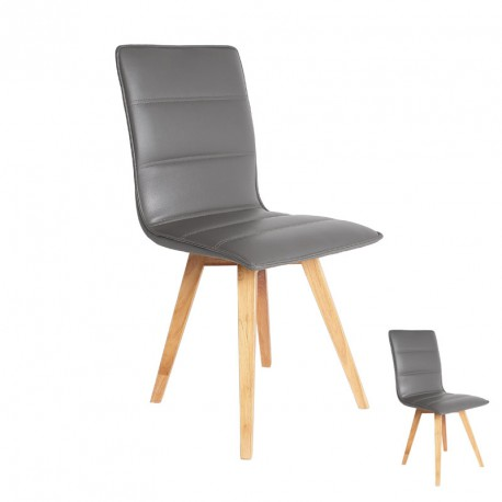 Duo de chaises simili cuir Gris - KANO