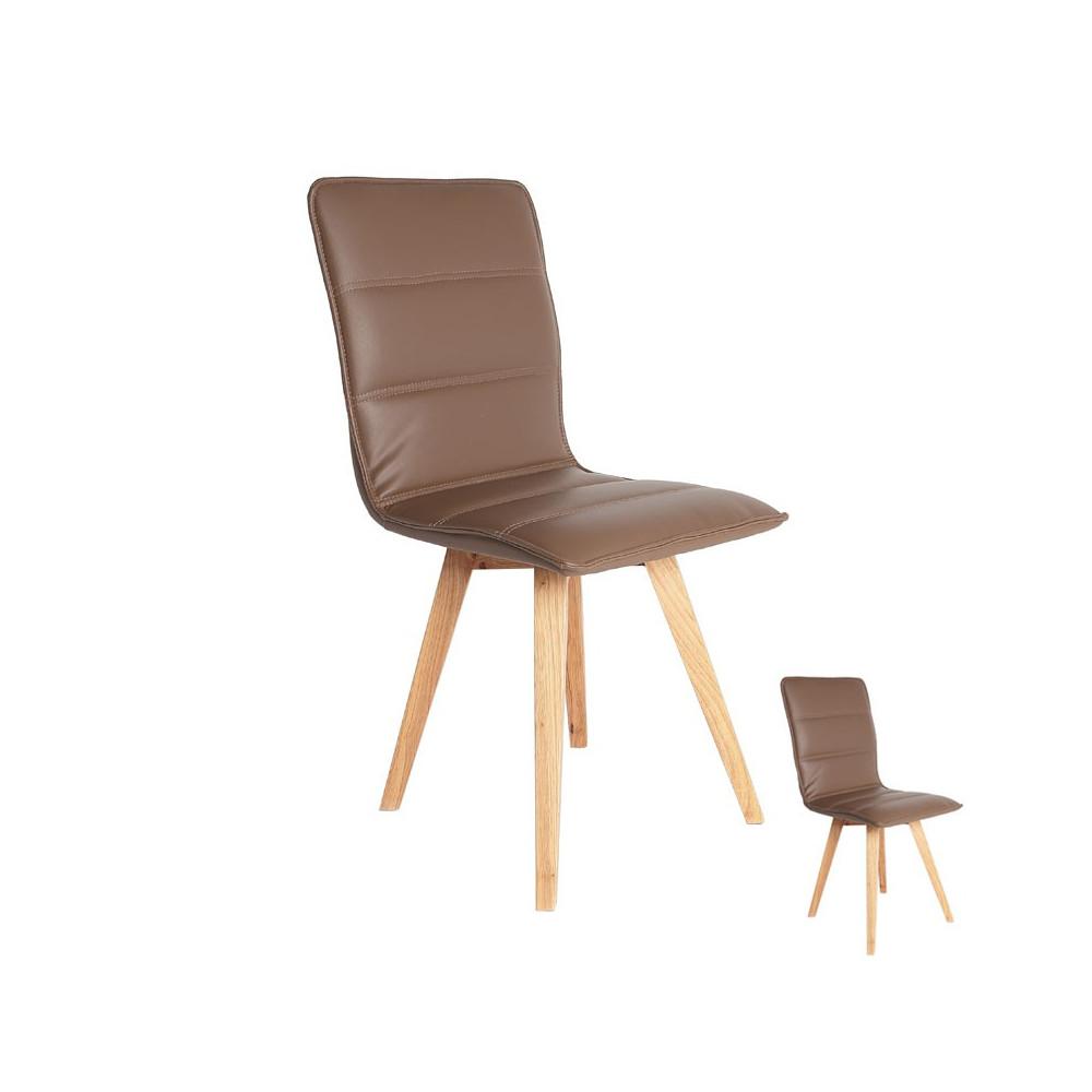 Duo de chaises simili cuir Marron - KANO