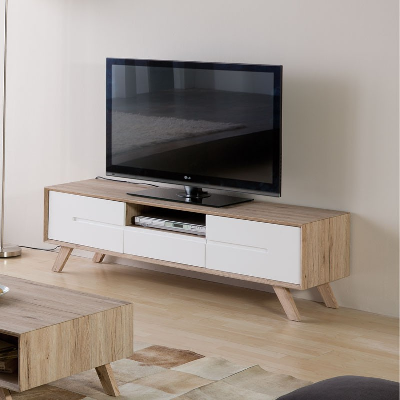 Meuble tv 2 portes 1 tiroir style scandinave galo for Salon du meuble