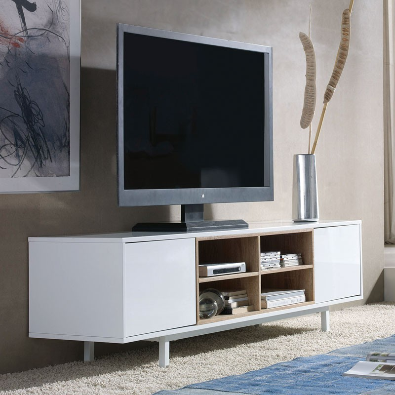 Meuble tv 2 portes 4 niches design robuste avec rangements - Meuble tv 4 niches ...