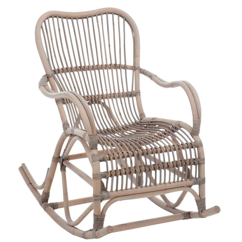 Rocking Chair Rotin bois grisé - RICKY