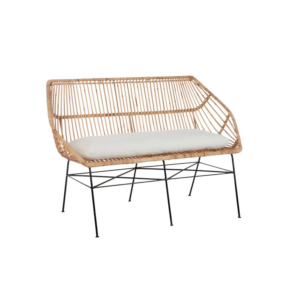 banc en rotin robuste teinte naturelle bloom univers des assises. Black Bedroom Furniture Sets. Home Design Ideas