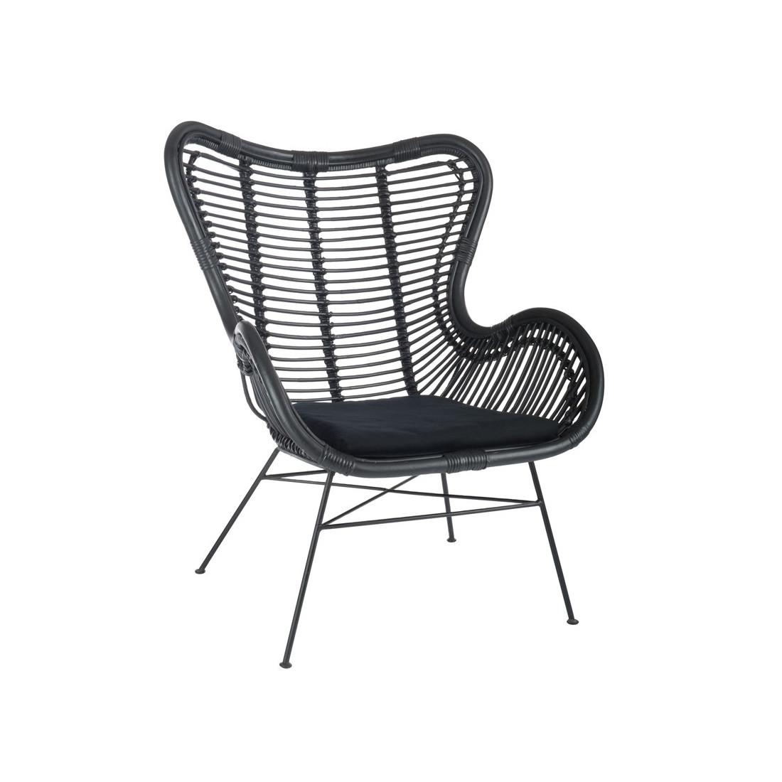 fauteuil robuste en rotin noir kohtao univers du salon. Black Bedroom Furniture Sets. Home Design Ideas
