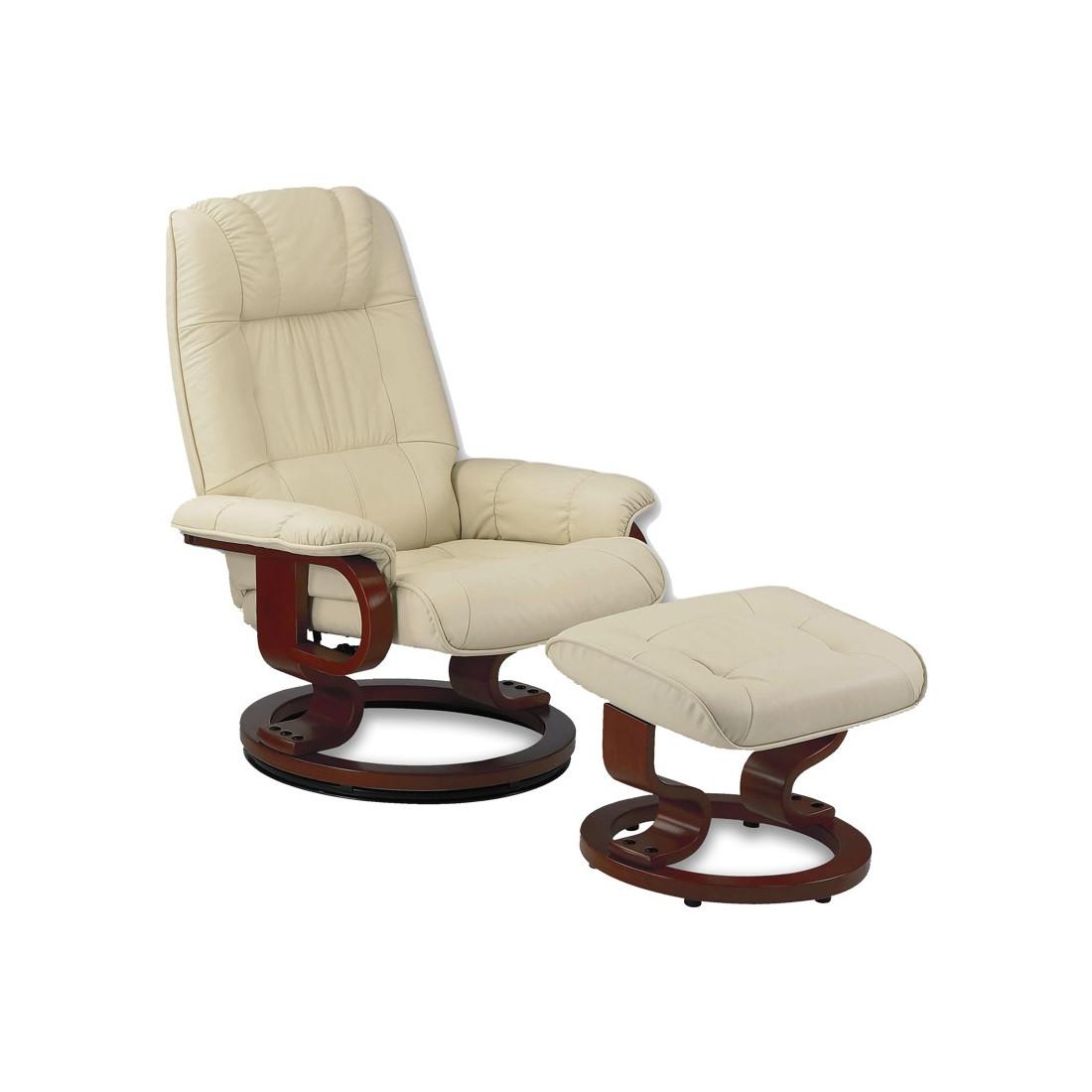 fauteuil de relaxation cuir beige univers du salon tousmesmeubles. Black Bedroom Furniture Sets. Home Design Ideas