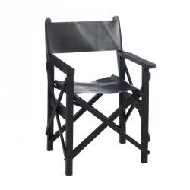 Chaise de Réalisateur Pliable Bois/Cuir Noir - HOHA
