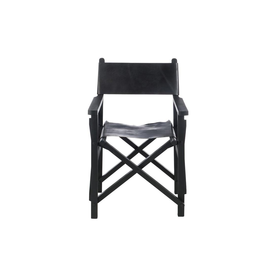 Chaise de r alisateur pliable cuir noir hoha univers du for Chaise cuir noir