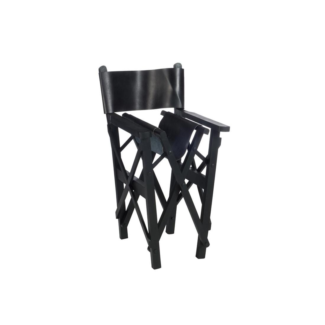 chaise de r alisateur pliable cuir noir hoha univers du salon. Black Bedroom Furniture Sets. Home Design Ideas