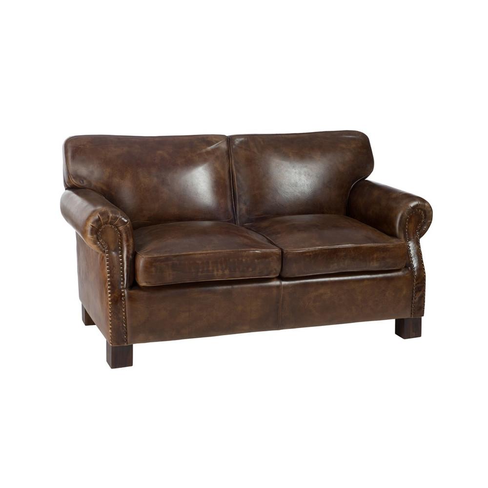 canap club 2 places similicuir et bois marron memphis univers salon. Black Bedroom Furniture Sets. Home Design Ideas