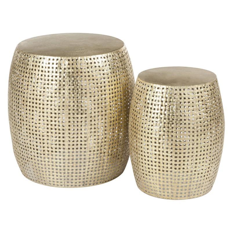 Set de 2 tabourets cylindre Or - NEBOB