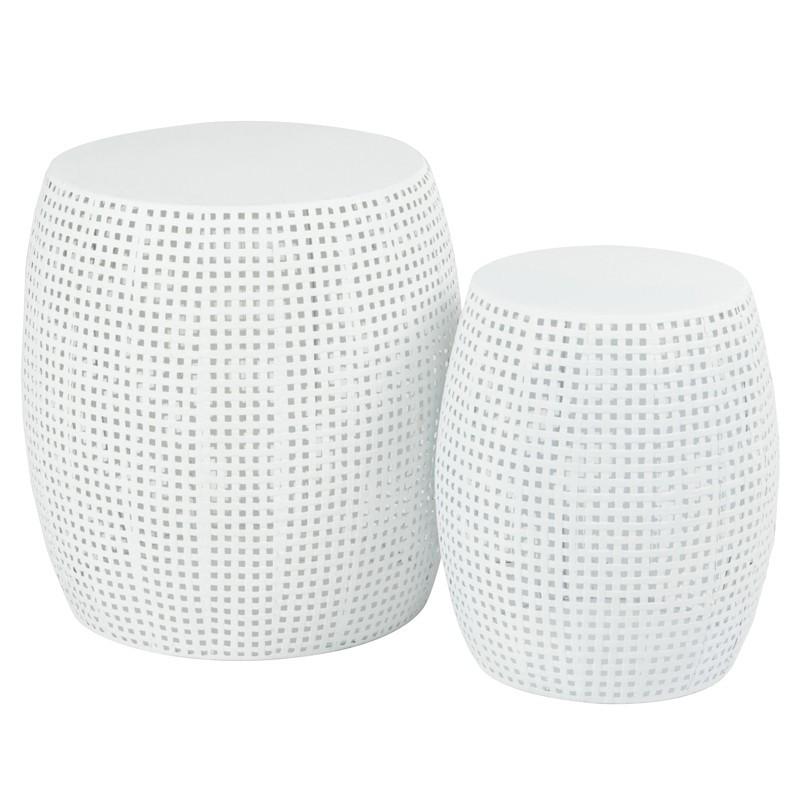 Set de 2 tabourets cylindre Blanc - NEBOB