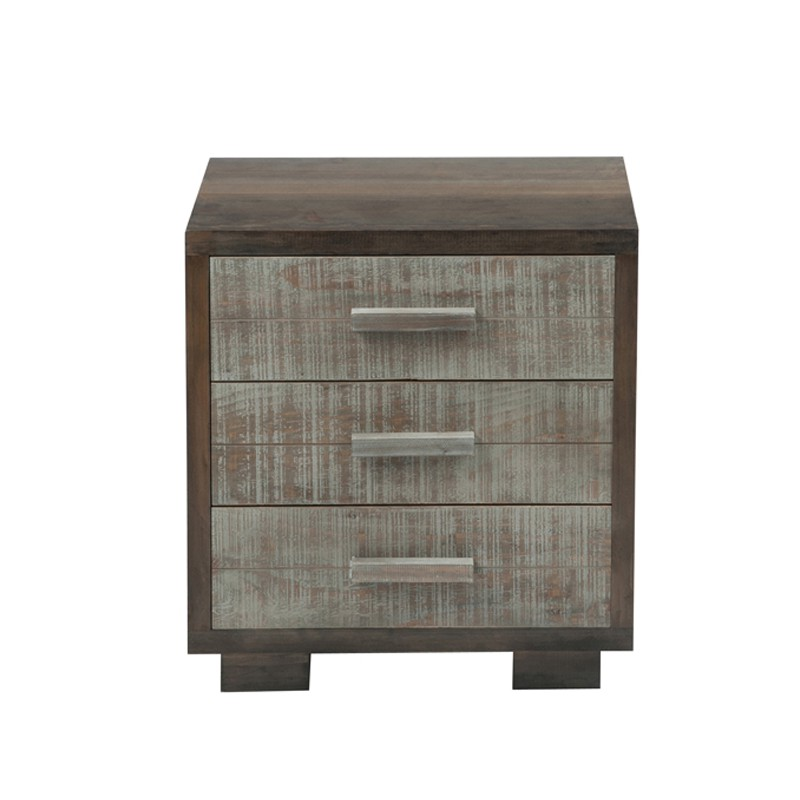 table de chevet 3 tiroirs brut de sciage gris canon univers chambre. Black Bedroom Furniture Sets. Home Design Ideas
