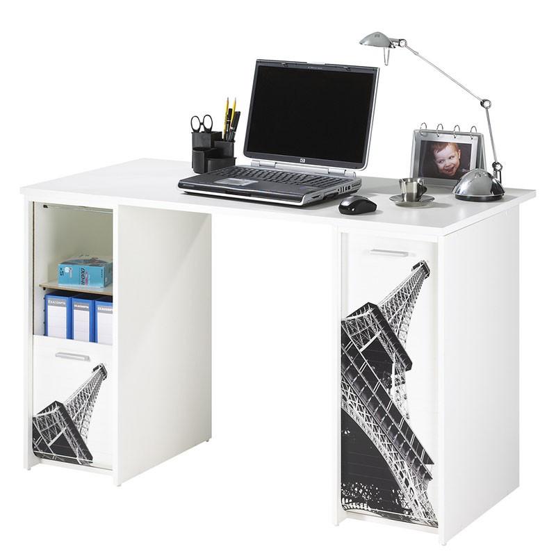 Bureau aménagé à rideaux Blanc - FENDY n°7