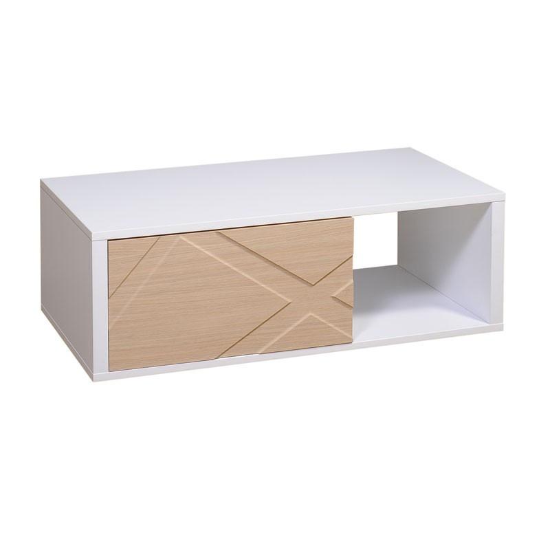 Table basse rectangulaire 1 tiroir Blanc et Chêne - JODIE n°1
