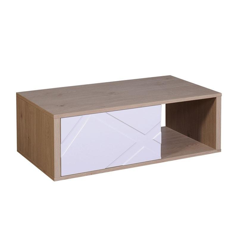 Table basse rectangulaire 1 tiroir Blanc Brillant et Chêne - JODIE n°2