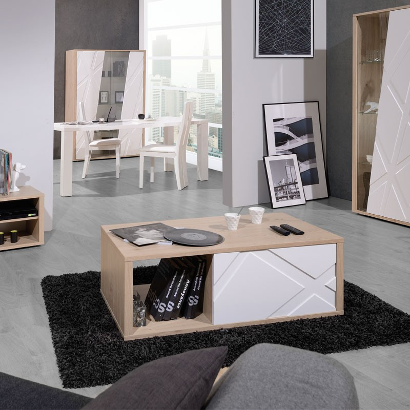 table basse 1 tiroir ch ne et blanc jodie n 1 univers salon. Black Bedroom Furniture Sets. Home Design Ideas