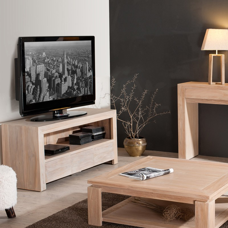 meuble tv 3 tiroirs en teck massif rosita univers du salon. Black Bedroom Furniture Sets. Home Design Ideas