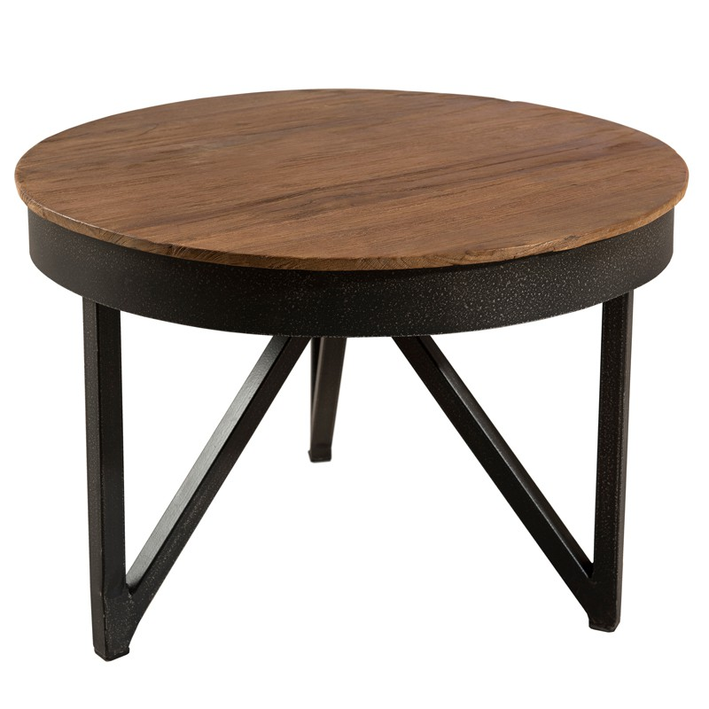Table basse ronde d 39 appoint en teck et m tal asio - Table d appoint contemporaine ...