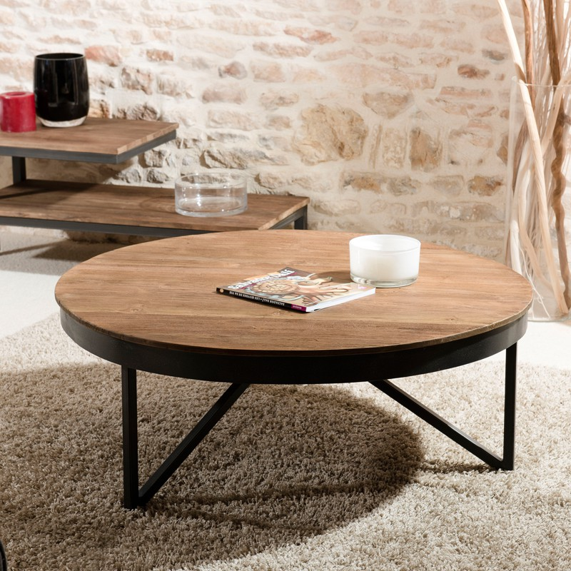 grande table basse ronde en teck et m tal asio univers du salon. Black Bedroom Furniture Sets. Home Design Ideas