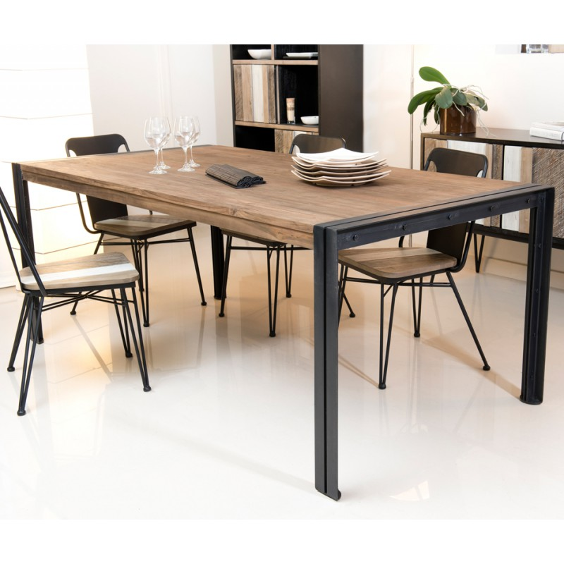 table de repas en teck et m tal asio univers de la salle. Black Bedroom Furniture Sets. Home Design Ideas