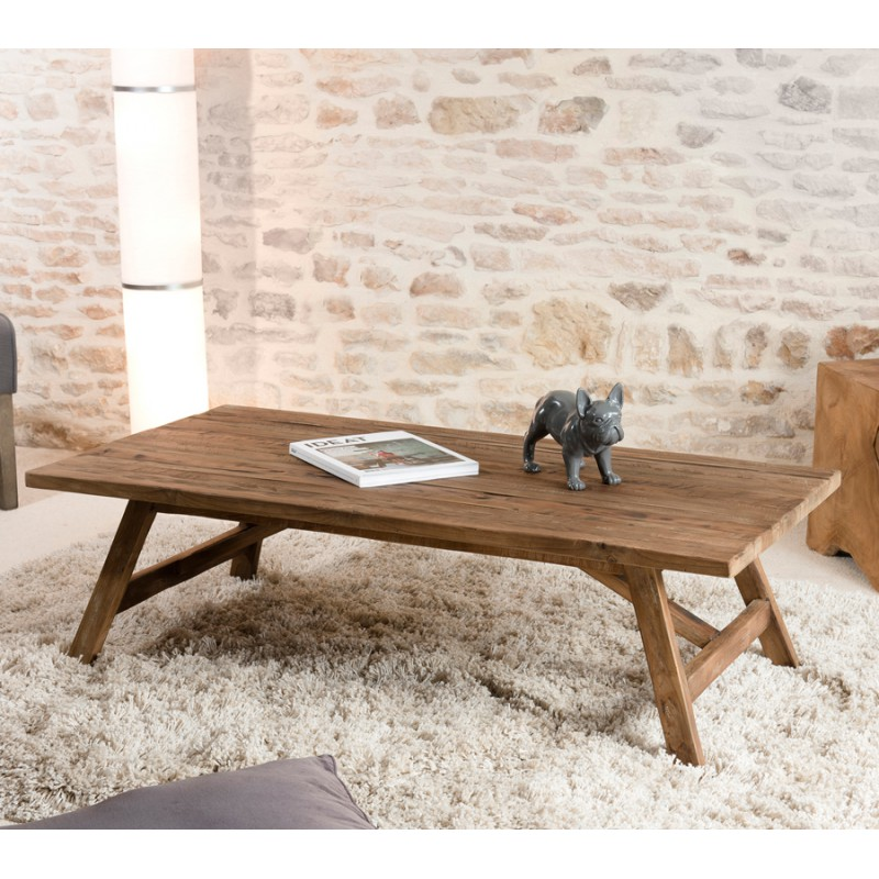 Table basse rectangulaire en teck recycl asio univers for Table basse en teck