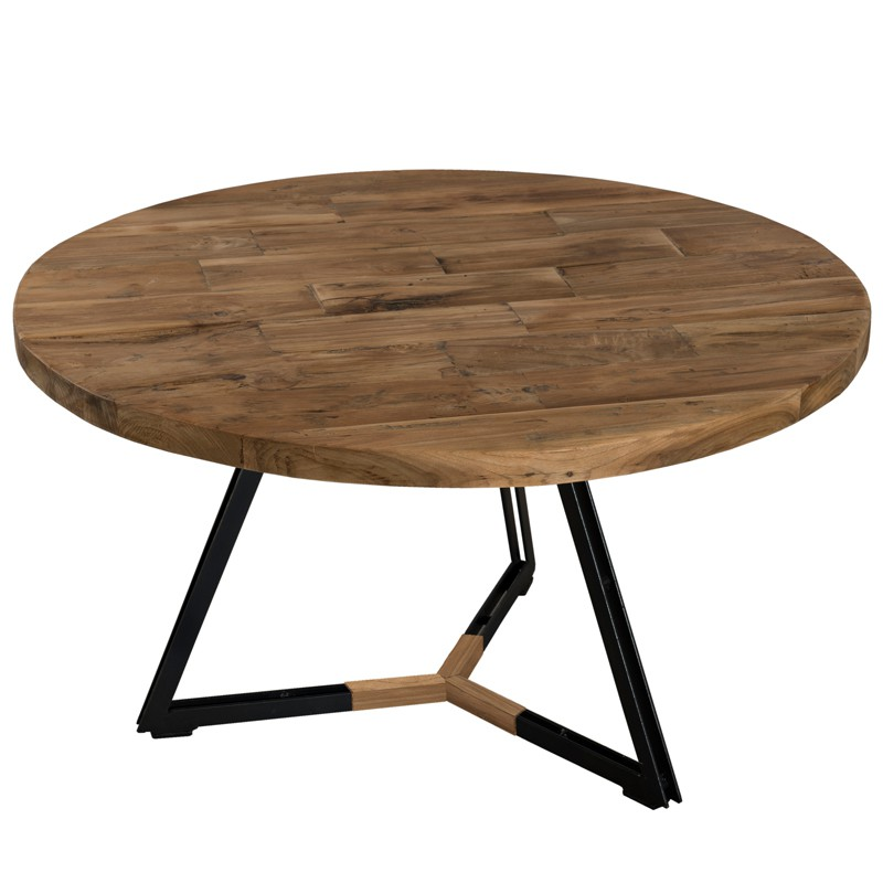 Table Basse Ronde Teck Recycl Et Pieds Noirs Asio