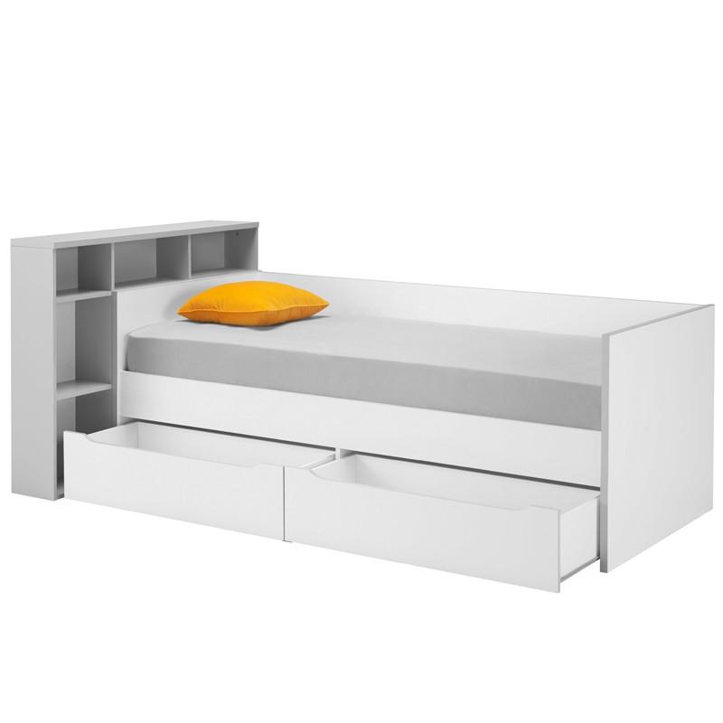 Lit banquette 2 tiroirs + tête de lit 90*200 cm - JEWEL