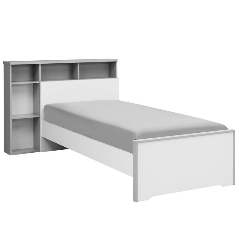 Lit Blanc/Gris 90*190 cm + sa tête de lit - JEWEL