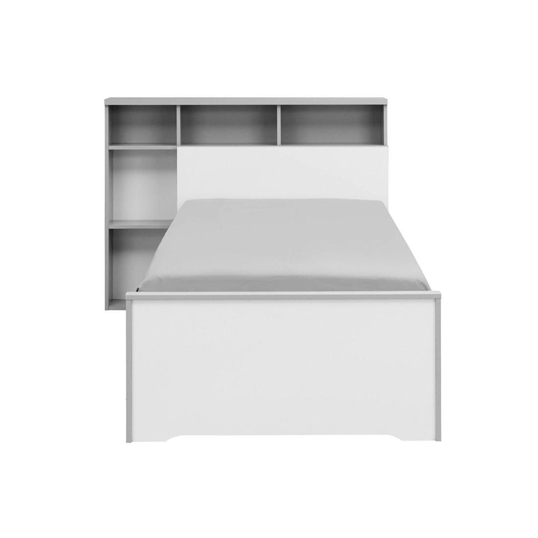 Lit blanc gris couchage 90x200 cm t te de lit jewel univers chambre - Tete de lit 200 cm ...