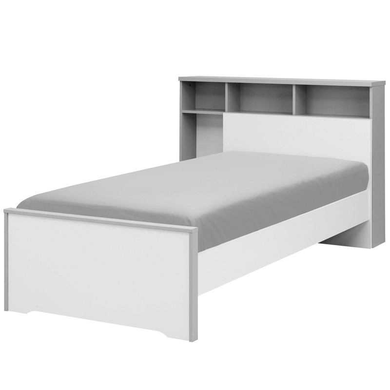 lit blanc gris couchage 90x200 cm t te de lit jewel. Black Bedroom Furniture Sets. Home Design Ideas