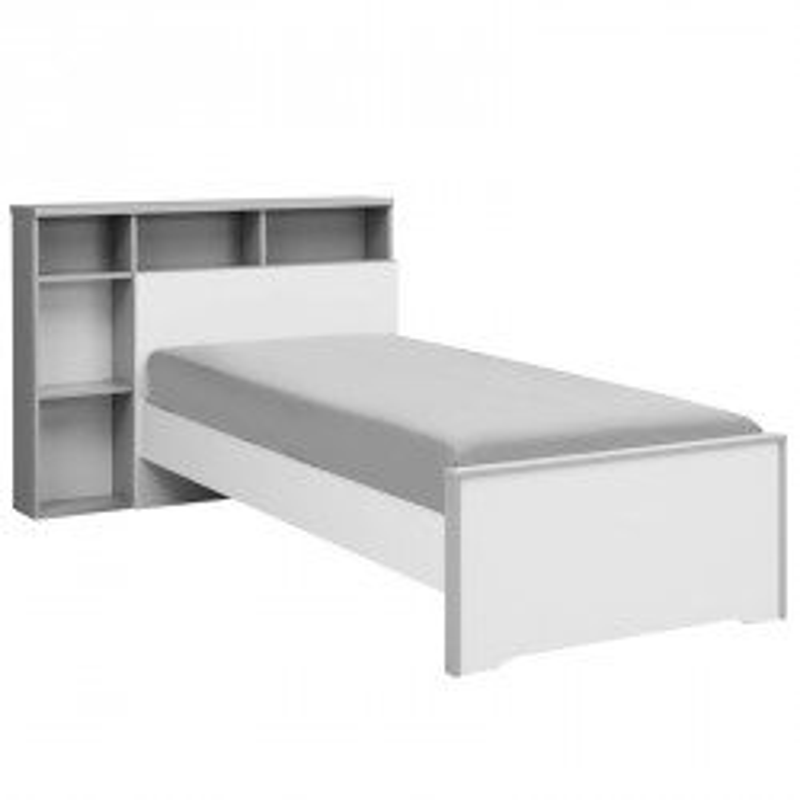Lit Blanc/Gris 90*190 cm + sa tête de lit + tiroir - JEWEL