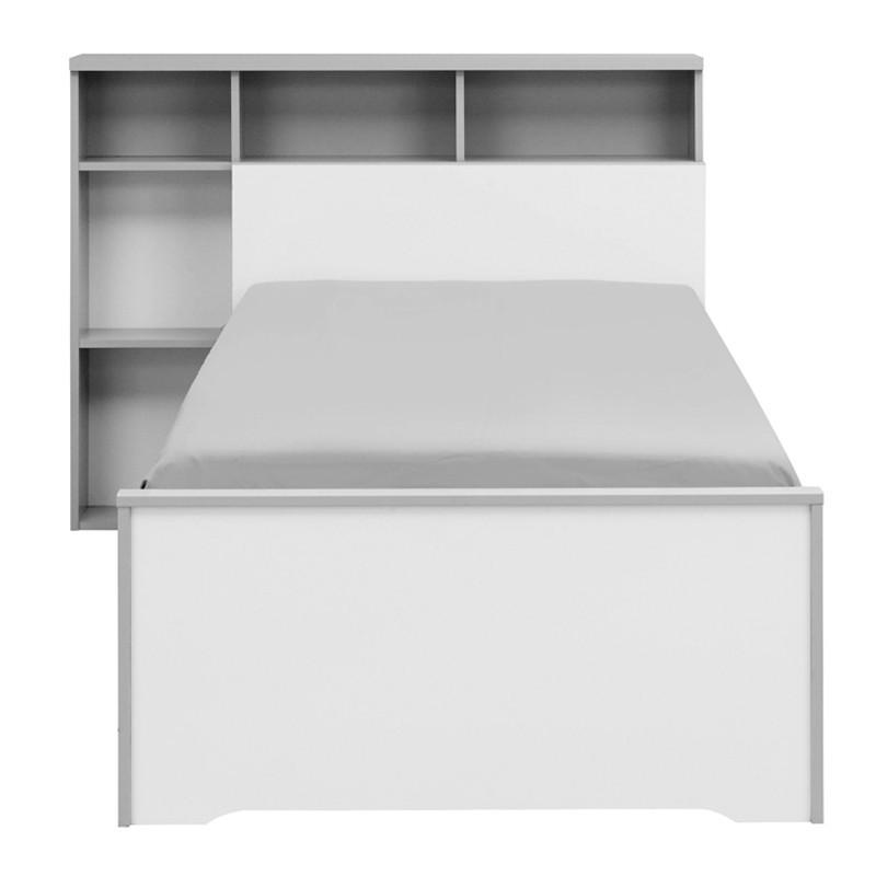 Lit Blanc/Gris 90*200 cm + sa tête de lit + tiroir - JEWEL