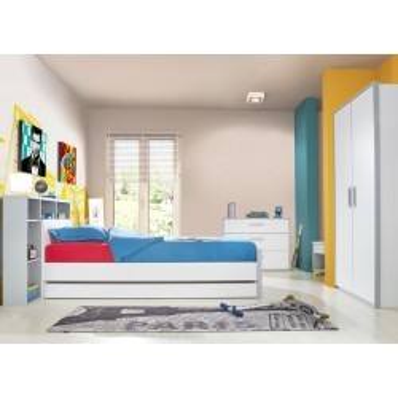 Chambre complète (90*190) Blanc/Gris - JEWEL