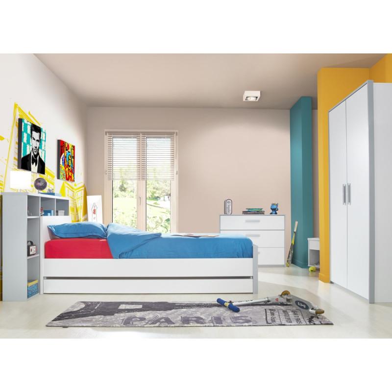 Chambre complète (90*200) Blanc/Gris - JEWEL