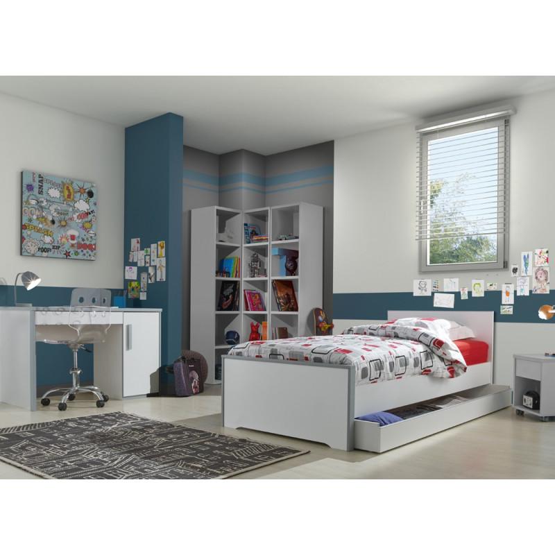 Chambre complète (90*200) Blanc/Gris - JEWEL n°2
