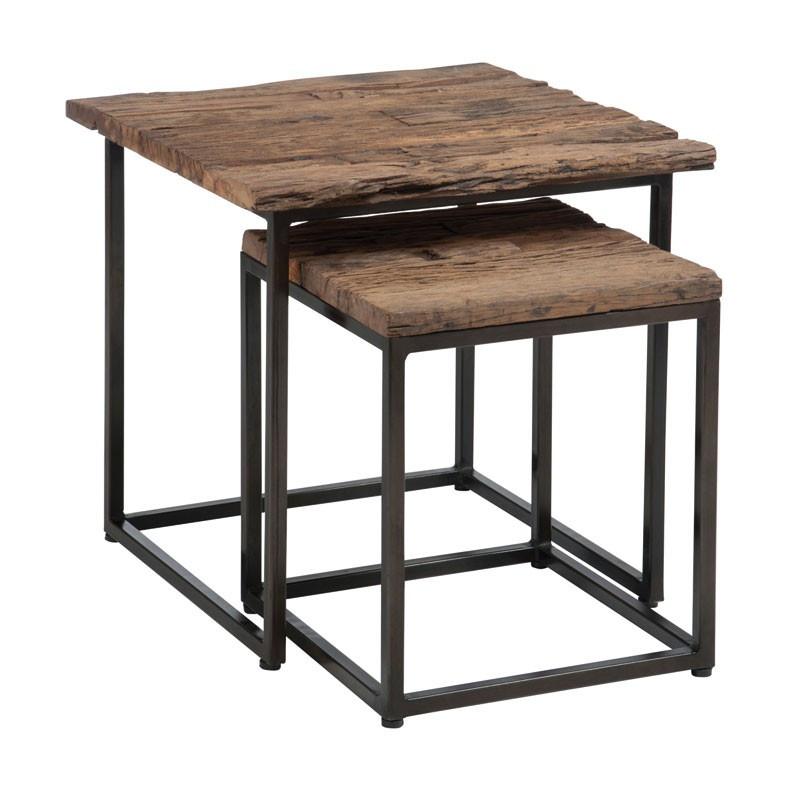 Tables gigognes pied métal et plateau bois brut - Univers Petits Meubles