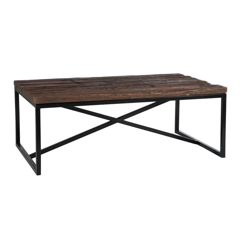 Table basse pied métal et plateau bois brut - Univers Salon : Tousmesmeubles