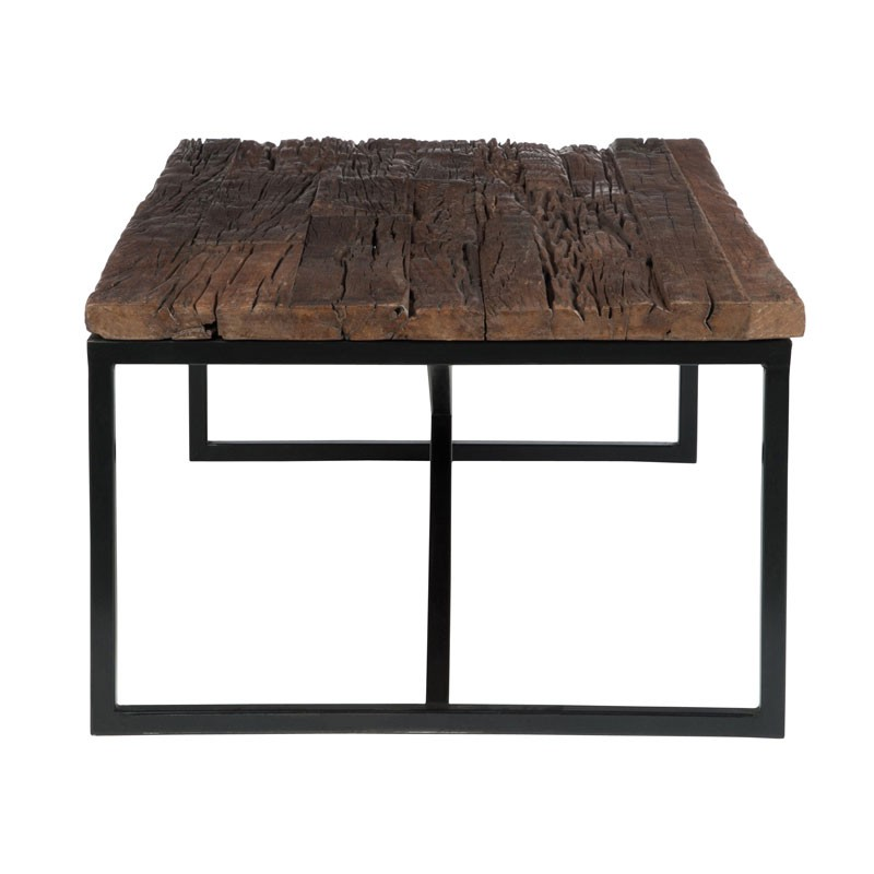 Table basse industrielle plateau bois brut povy univers for Table salon bois brut