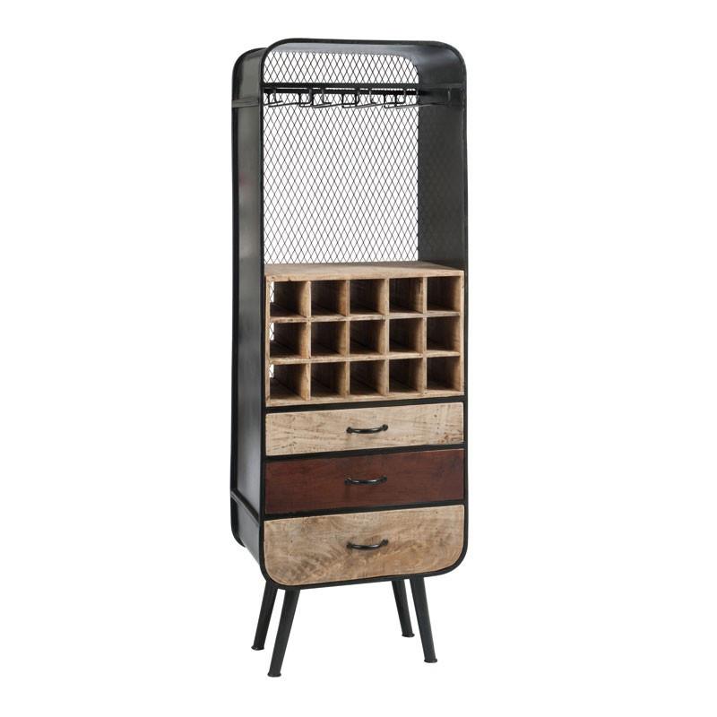 Porte-bouteilles 3 tiroirs bois et métal industriel - Univers Salon : Tousmesmeubles