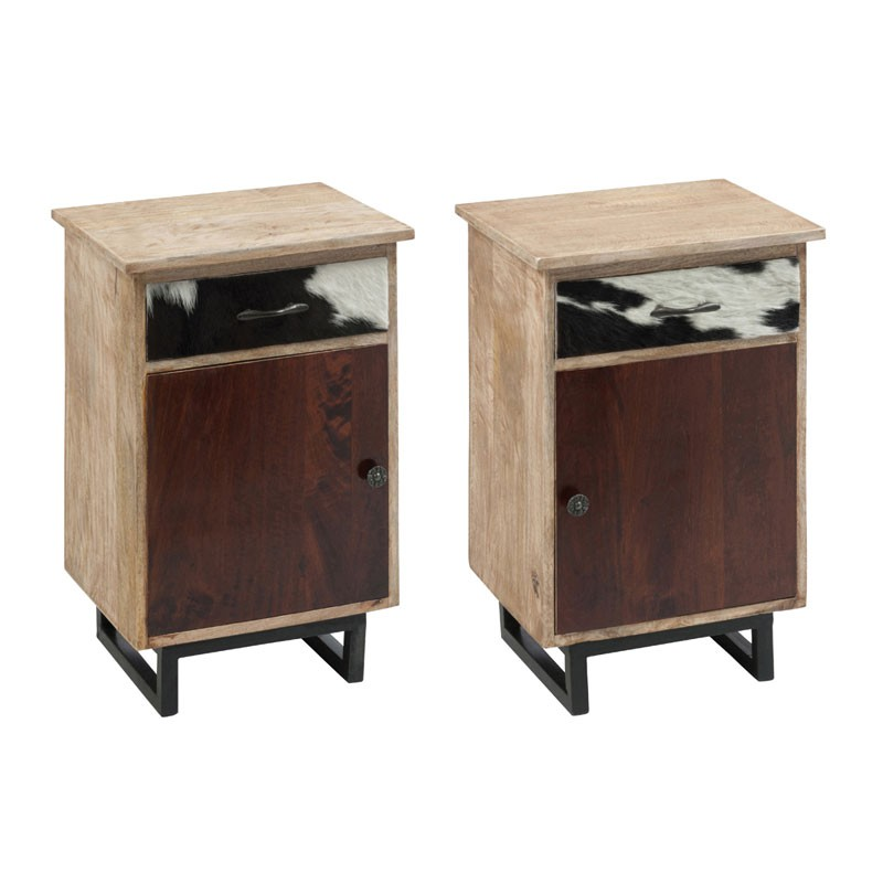 duo de tables de chevet 1 porte 1 tiroir cowly univers de la chambre. Black Bedroom Furniture Sets. Home Design Ideas