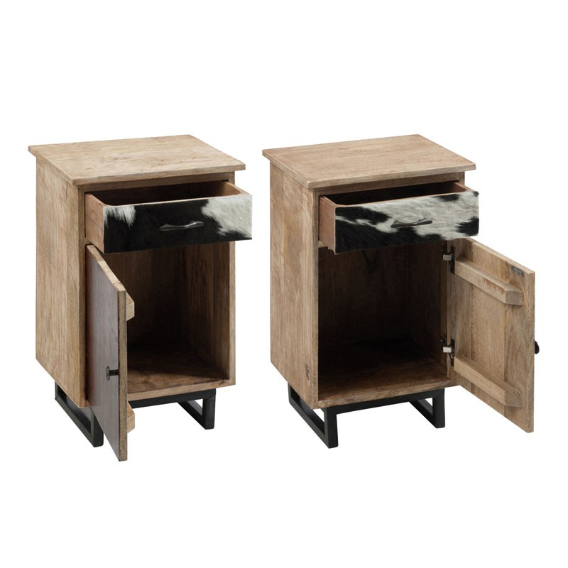 Duo de tables de chevet 1 porte 1 tiroir cowly univers de la chambre for Table de chevet campagne
