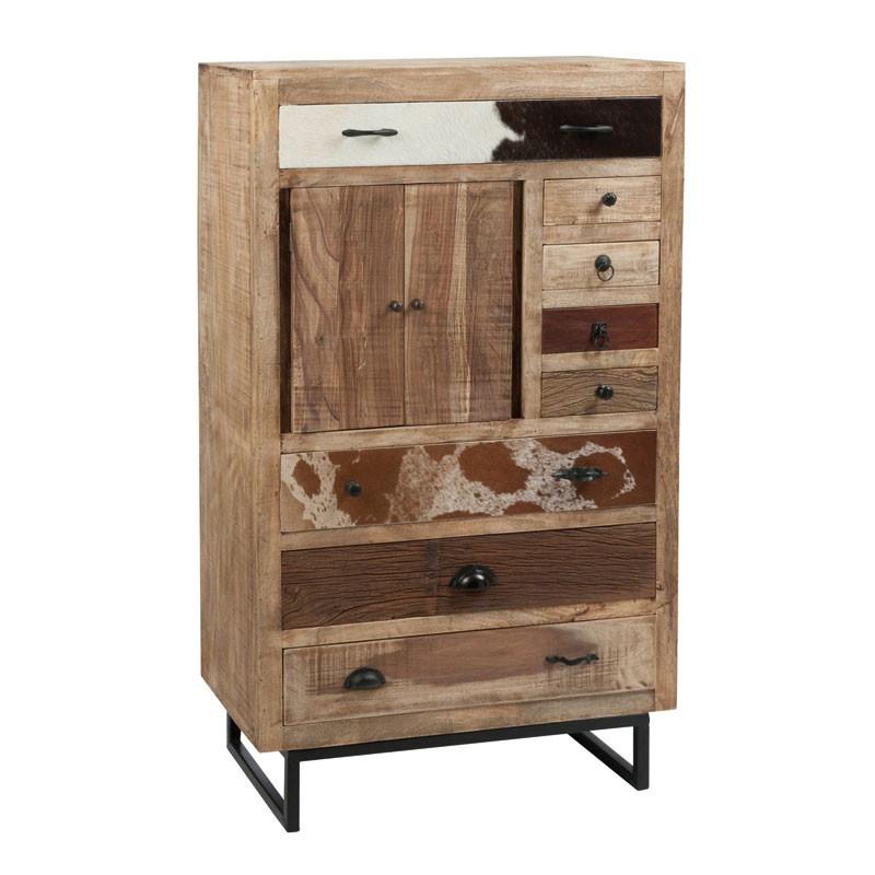 Armoire 2 portes 8 tiroirs bois et peau de vache - Univers Petits Meubles